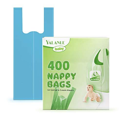 Sacchetti per pannolini usa e getta per bambini, 100% compostabili, biodegradabili, con manici Easy-Tie, adatti per il bidone (400 pezzi)