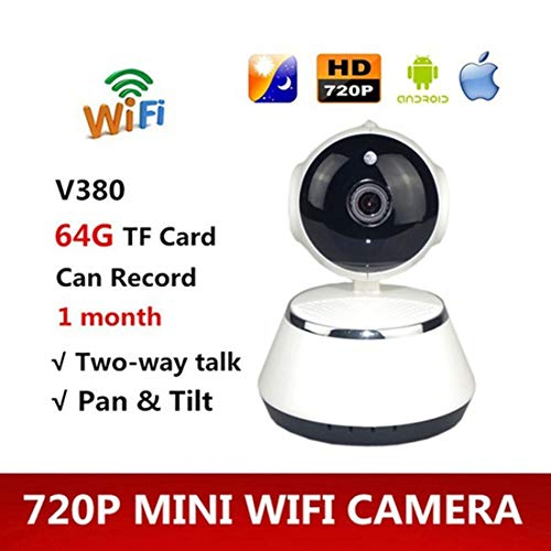 Semoic V380 Phone APP HD 720P Mini IP Camera WiFi Camera Wireless P2P Security Camera Night Vision IR Robot Baby Monitor Support(Card Not Included) (Color: White)