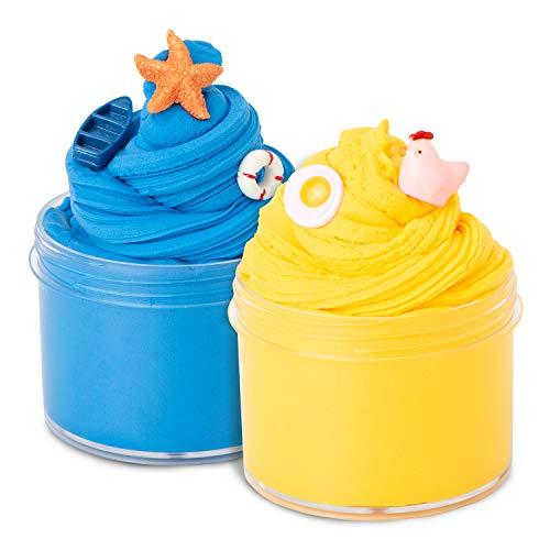 Joyjoz Fluffy Slime Putty Schleim - 2 Packungen Soft Butter Schleim Slime Set, Stressabbau-Spielzeug für Jungen & Mädchen, 5 Packungen Zubehör enthalten