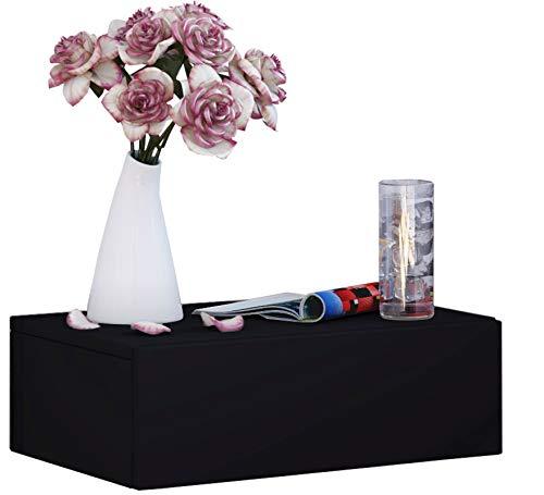 VCM Wand Nachttisch Wandschrank Tisch Nachtschrank Nachtkonsole Wandboard Regal schwarz 15 x 46 x 30 cm