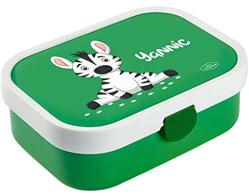 Mein Zwergenland Brotdose Mepal Campus inkl. Bento Box und Gabel mit eigenem Namen Grün, Zebra