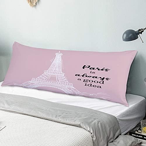 Personalizado Funda de Almohada Larga,La Torre Eiffel con Scripts Paris Siempre es una Buena Idea en Pink Ground,Funda de Almohada para el Cuerpo con Cremallera Sofá para Dormitorio,54' x 20'