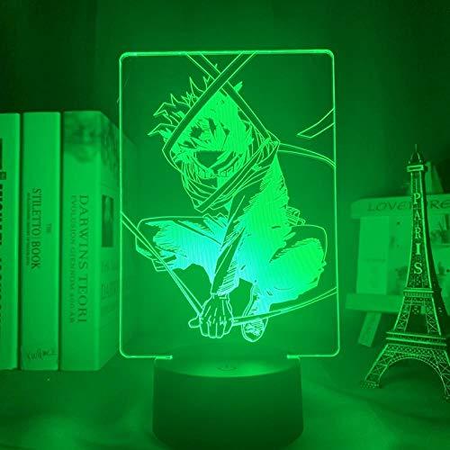 3D Night Light Eren Yeager Chibi Figure Night Light - Luz nocturna para habitación infantil (luz nocturna en 3D, USB)