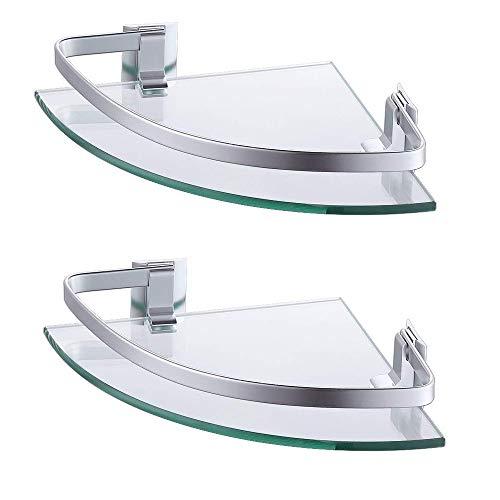 KES Eckregal Glasregal Duschablage 8 MM Gehärtetes Glas Wandablage zum Hängen Bad Dusche Wand Halterung Wandmontage 2 Stück Eloxiert Aluminium Silber, A4120A-P2