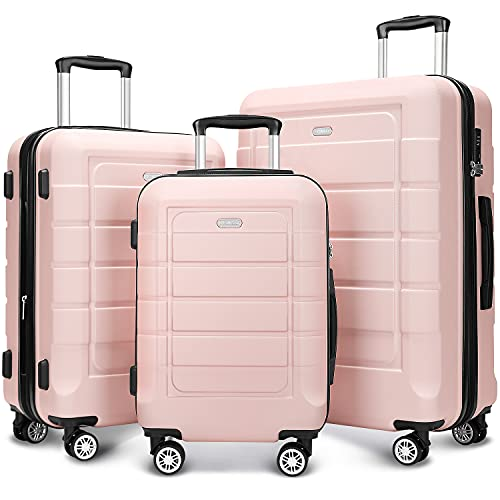 of travelambo luggages SHOWKOO Luggage Sets Expandable PC+ABS Durable Suitcase Double Wheels TSA Lock Pink 3pcs