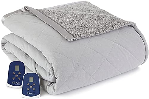 Shavel Home Products Micro Flannel Reverse to Sherpa Electric Heated Blanket, Greystone, Full