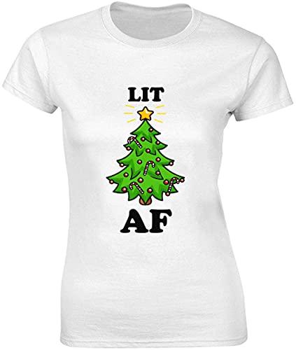 Lit AF T-shirt pour femme Motif sapin de Noël - Blanc - Small