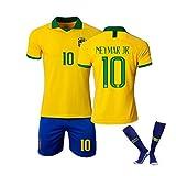 Jersey de Uniformes de Futbol Jersey de Fútbol, Adulto/Niños Jersey de Fútbol 1920 Copa América Brasil Hogar Y Alejado Jersey de Fútbol No.10 Neymar Jersey con Calcetines