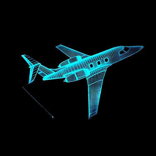 RJGOPL Aircraft USB-adapter passagier vliegtuig 3D bureaulamp 7 kleurverandering 3D lamp nachtlampje