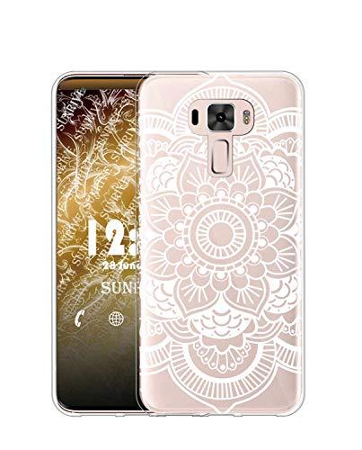 Sunrive Kompatibel mit Asus Zenfone 3 ZE520KL Hülle Silikon, Transparent Handyhülle Schutzhülle Etui Hülle (TPU Blume Weiße 2)+Gratis Universal Eingabestift MEHRWEG