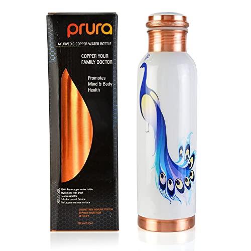 PRURA Botella de agua de cobre a prueba de fugas Ayurvedic Pure Copper