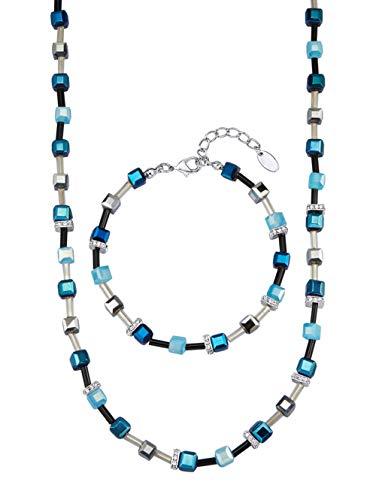 KLiNGEL 2tlg. Schmuck-Set mit Kristallen Blau