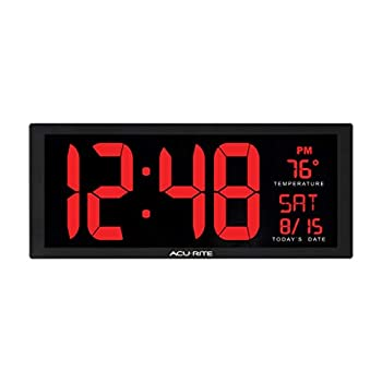 AcuRite 14.5  Large Digital LED Oversized Wall Clock with Date and Temperature Perfect for Home or Office  75127M  Inch Red