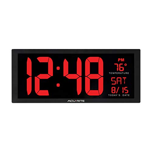 AcuRite 75127M 14.5 Inch Large Red Oversized LED Clock with Indoor Temperature, Date and Kickstand (75172MDI), 14.5-Inch