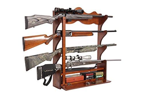 American Furniture Classics 840 4 Gun Wall Rack, Medium Brown (Best Gun Setup In Mw3)