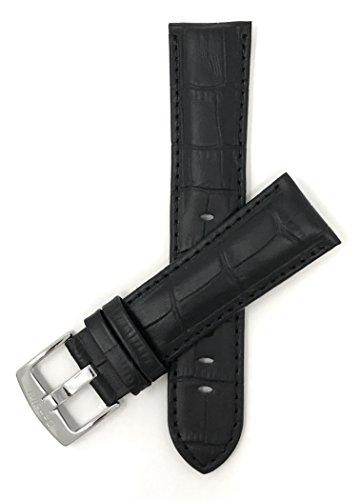 Leder Uhrenarmband 22mm für Herren, Schwarz, Alligatormuster, auch verfügbar in braun, blau, rot, hellbraun