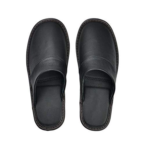 XJJZS Zapatillas de Cuero de Vaca Pareja Interior Antideslizante Hombres Mujeres hogar Moda Casual Zapatos Individuales TPR Suela Suave Primavera otoño (Color : A, Size : 43)