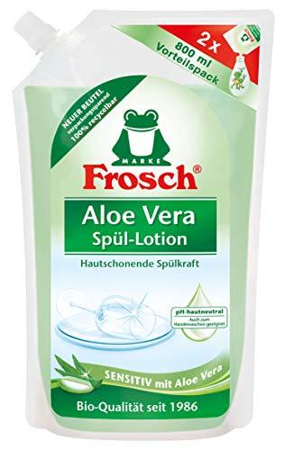 Frosch Aloe Vera SpülLotion sensitives Handgeschirrspülmittel sehr gute HautverträglichkeitNachfüllbeutel 800ml, Klar, (Pack of 3)