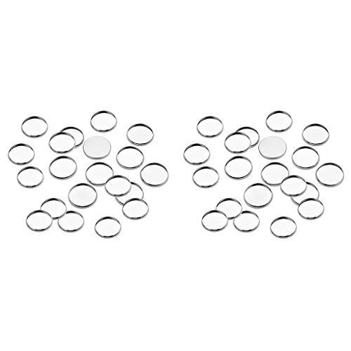 Generic 40x Joyas de Acero Inoxidable para Hacer Hallazgos Bandejas de Configuración de Base de Bisel en Blanco