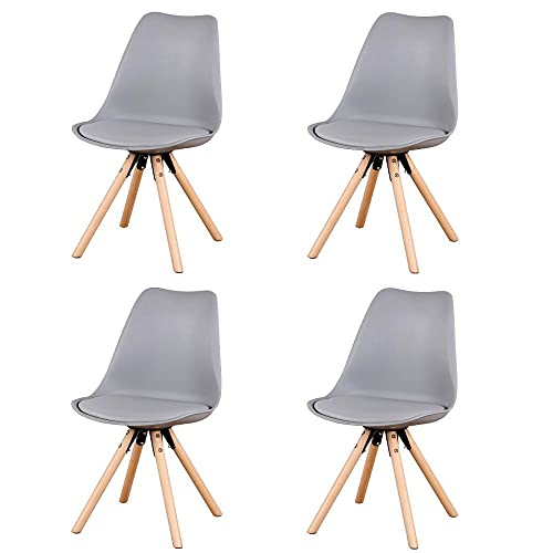 VERDELZ Set of 4, Linen/Velvet Fabric/ABS PP Nordic Dining Chair with Beech Wood Legs for Dining Room, Living Room, Office, Bedroom, Gray