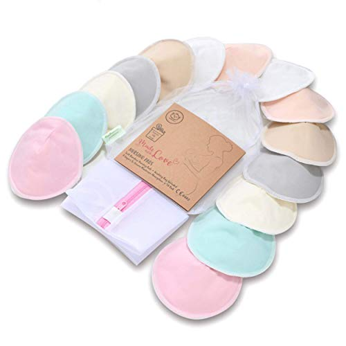 Organic Bamboo Nursing Breast Pads - 14 Washable Pads + Wash Bag - Breastfeeding Nipple Pad for Maternity - Reusable Nipplecovers for Breast Feeding (Pastel Touch Lite, Large 4.8')