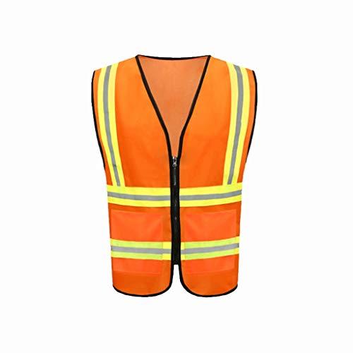 Traje de saneamiento reflexivo, Tejido de punto de alta visibilidad Chaleco de seguridad for aplicaciones en exterior de trabajo ciclismo jogging Deportes Chalecos de seguridad ( Color : Orange red )
