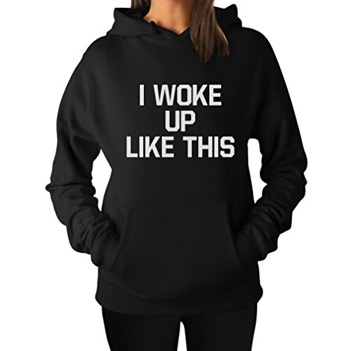 TeeStars Women's - I Woke Up Like This Hoodie Medium Black