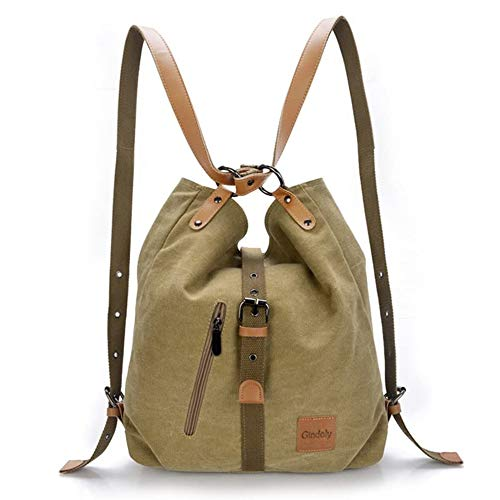 Gindoly Stilvolle Damen Canvas Handtasche Rucksack Umhängetasche 3 in 1 Große Multifunktionale Tasche für Arbeit Schule Alltag(Khaki)