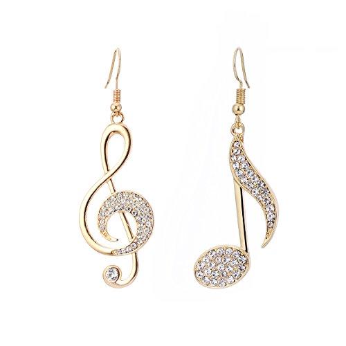 Pendientes de péndulo con nota musical para mujer, hipoalergénicos, chapados en oro rosa y plata, con joyas de cristal, regalo para amigos Chapado en oro.