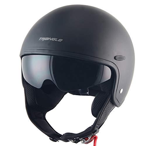 Triangle Half Helmet Sun Visor Quick Release Buckle DOT Approved Half Face Cycling ATV Bike Helmets for Men & Women (Small,Matte Black)