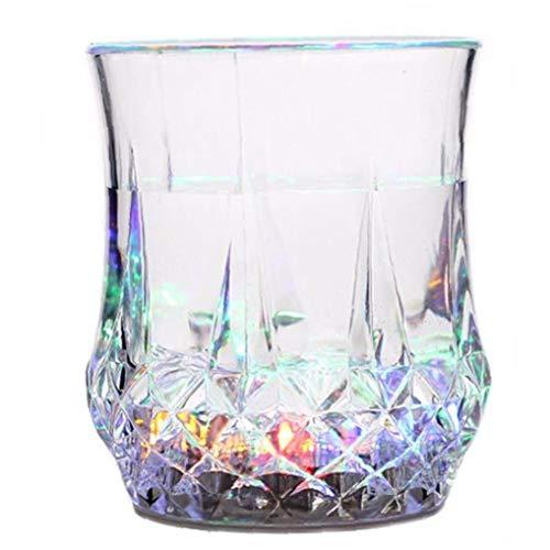 Ruluti Light Up Copas Automático Intermitente De Bebida Copa De Café Cambiante del Color De La Cerveza Whisky De Cristal Copa De Fuentes De La Barra del Club del Partido