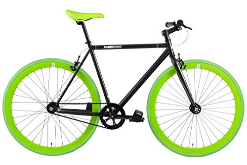 FabricBike- Bicicleta Fixie, piñon Fijo, Single Speed, Cuadro Hi-Ten Acero, 10,45 kg. (Talla M) (L-58cm, Matte Black & Green)