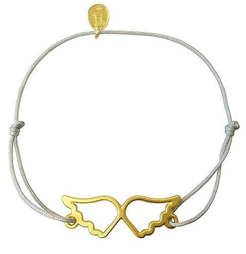 Smilla Brav® Schutzengel Schutz Engel Engelsflügel-Damen-Armband PRETTY ANGEL - hellgrau/gold - Schutzengel MB02