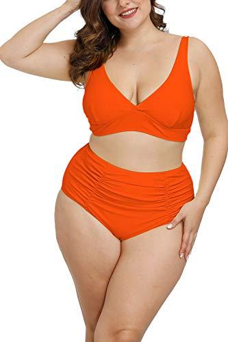 Pink Queen Women's Plus Size Swimwear High Waisted Swimsuits Ruched Tummy Control Bikini Set Orange 3XL