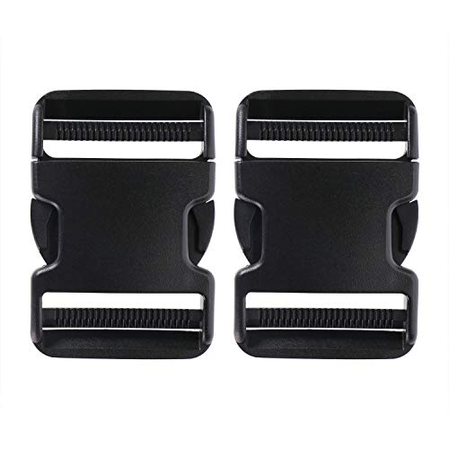 Penta Angel 2Pcs 50mm/2 inch Black Plastic Buckle Clips Heavy Duty Dual Adjustable Buckles Craft Webbing Quick Side Release Buckles for Luggage Straps Pet Collar Backpack Repairing
