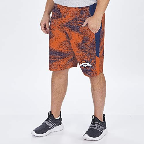 Zubaz NFL Herren Static Shorts, Herren, NFL Denver Broncos Herren Marineblau/Orange, Größe XL (US), NFL Men's Poly Short with Side Panels, Multi, X-Large