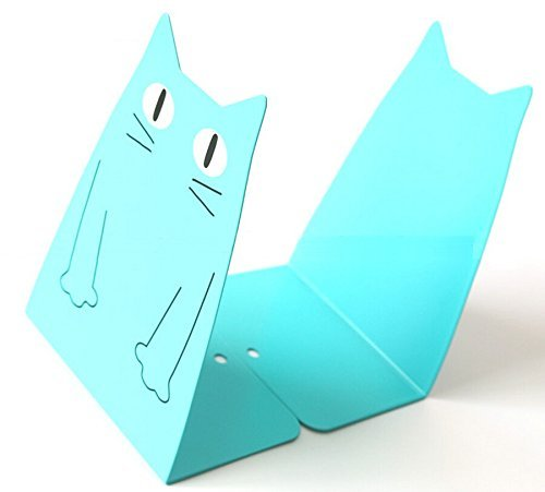 TOBSON Cute Cat Heavy Duty Bookend Nonskid Bookends Art Decoration,A Pairs(Blue)