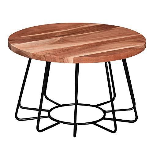 Wohnling Mesa de centro de 60 x 35 x 60 cm, madera maciza de acacia/metal, mesa redonda de salón, mesa de salón maciza, pequeña mesa de diseño, para salón industrial