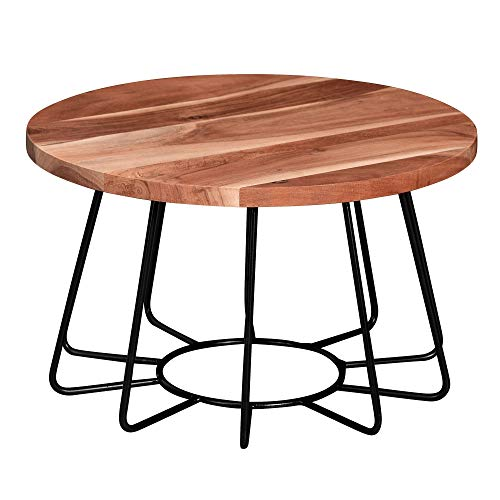FineBuy Couchtisch 60x35x60 cm Akazie Massivholz/Metall Sofatisch | Wohnzimmertisch Rund | Salontisch Massiv | Kleiner Designer Tisch Wohnzimmer Industrial
