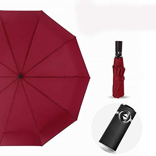 flqwe BelüFtet, Winddicht Regenschirm,Zehn-Knochen-Vollautomatikschirm, klappbarer winddichter Sonnenschirm-Ring weinrot,Taschenschirm Windproof Sturmfest