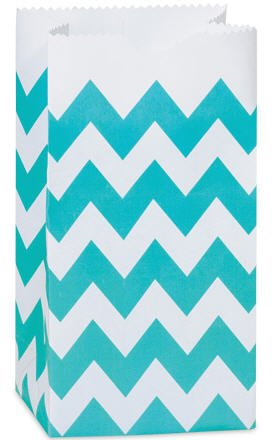 CakeSupplyShop CK79P- 25/set Turquoise & White Chevron Stripes - All-occasion Paper Favor Gift Bags - 4lb - 5x3-1/8x9-5/8""