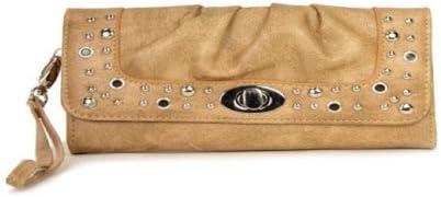 Tan Studded Turnlock Wristlet Wallet