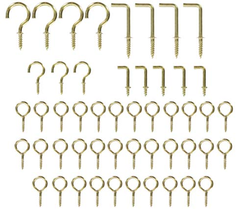 50Pc Assorted Cup Hooks & Square Bend Screw Kit Picture Wall Art Clock Hardware Hanging