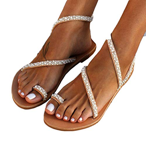 Padaleks Women's Toe Ring Summer Beach Shoes Wedding Evening Party Sandal Bohemia Rhinestone Pearl Sandals Flats Brown