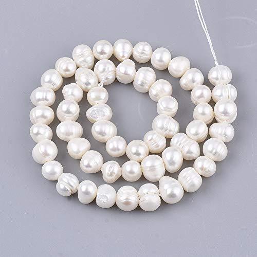 1 hilo de perlas naturales de patata redonda de color de concha de agua dulce cultivada perlas sueltas de 7 ~ 9 mm para pendientes de joyería alrededor de 53 ~ 54 piezas/hebra