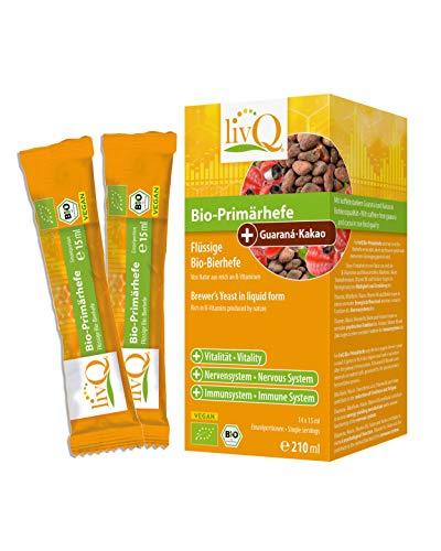 livQ® Bio-Primärhefe Guarana-Kakao - Hochwertige Bier Hefe Vitamin B-Quelle - Belebend, Präbiotisch - 210ml
