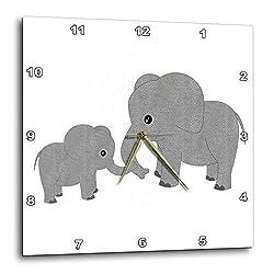 3dRose DPP_195248_2 Mom and Baby Elephant Wall Clock, 13 x 13