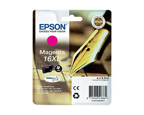 Originale Epson C13T16334010 / T1633 cartucce d'inchiostro (magenta, capacità 6,50 ml) per Workforce WF 2010, WF 2510, WF 2520, WF 2530, WF 2540