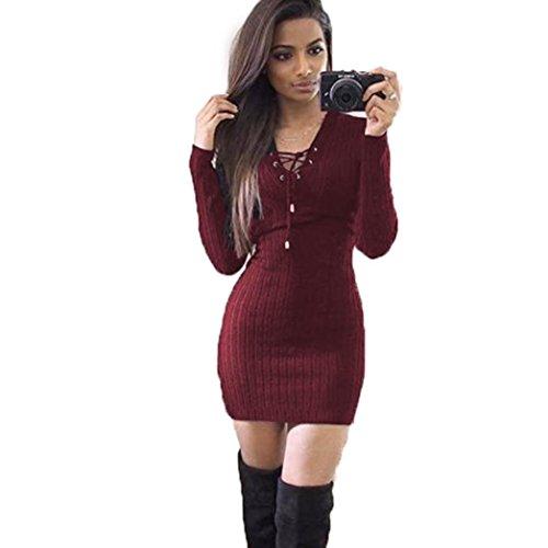 Amlaiworld Damen unregelmäßige Perspektive ärmel hoher Kragen figurbetontes Kleid, Neue Herbst&Winter warme Pullover Kleid (M, A,Rot)