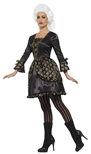 SMIFFYS Costume deluxe da ballo in maschera, Nero e Oro, con vestito e mantellina